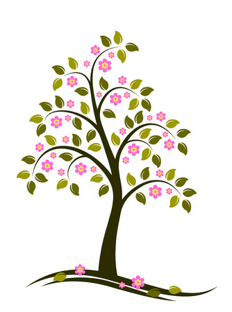 vector flowering tree on white background