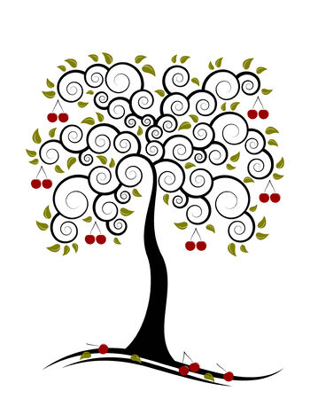 orchard fruit: vector abstract cherry tree on white background