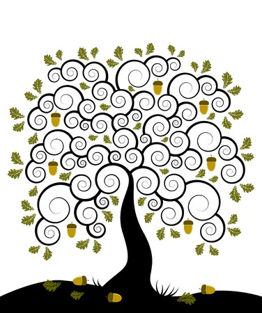 vector abstract oak tree on white background Stock Vector - 7843627