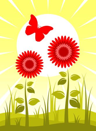 flowers, sun and butterfly Vector