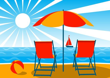 deck chairs under umbrella on the beach Stock Vector - 7885910