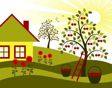 landscape with cherry trees, flower and cottage Vector