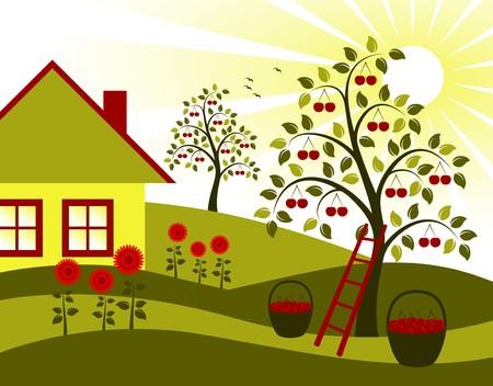 paysage avec arbres cherry, fleur et chalet  Vecteurs