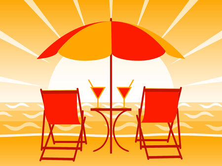 deck chairs, drinks and umbrella on the beach in sunset Vector