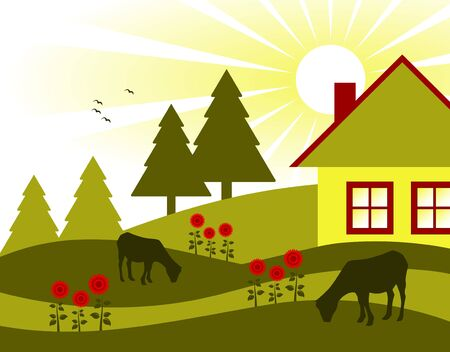 grazing: cottage, flowers and grazing goats Illustration