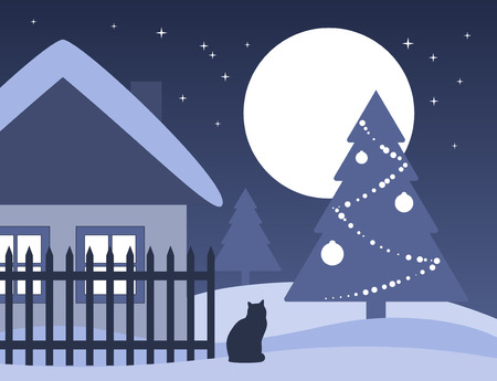 Christmas tree and cottage Vector