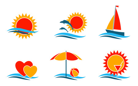 yellow boats: summer symbols collection on white background