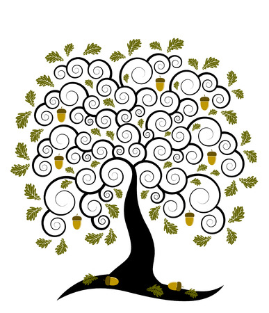 abstract oak tree on white background Illustration