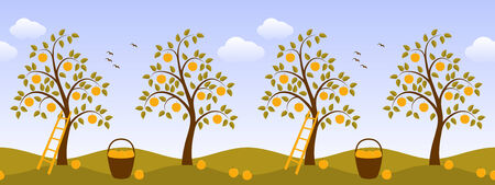 seamless border with apple trees Vector