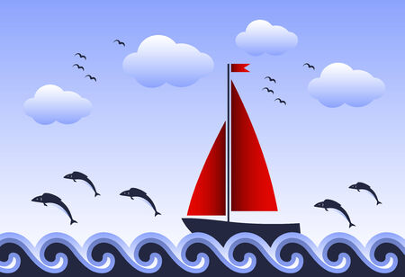 fishes jumping around sailboat floating on sea Ilustração