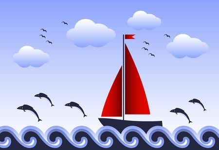 marine bird: peces saltando de velero flotando en el mar