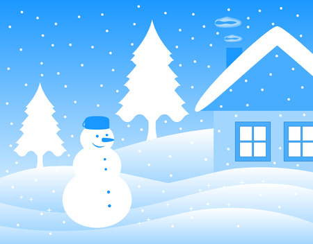 winter landscape with snowman and cottage Stock Vector - 8106631