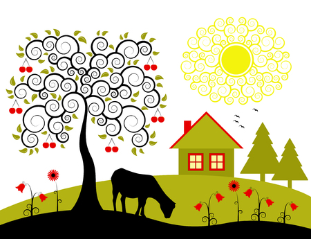 landscape with cherry tree Vector