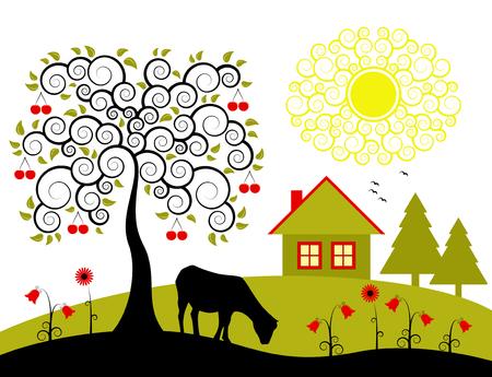 geit: landschap met kersenboom  Stock Illustratie