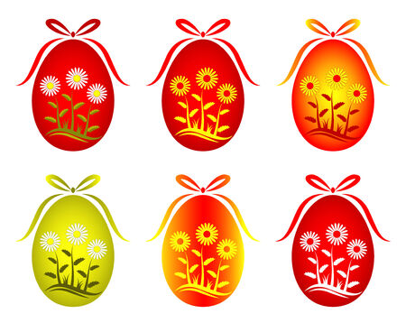 six versions of Easter egg with daisy decor on white background Stock Vector - 8170029