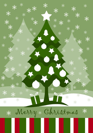 vector background with Christmas tree and gifts