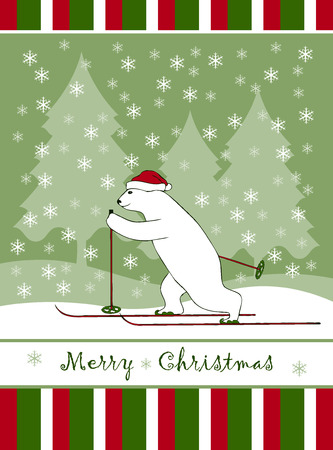 vector Christmas card with Christmas bear skier