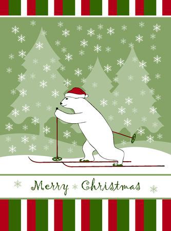 osos navide�os: vector tarjeta de Navidad con la Navidad tener esquiador.
