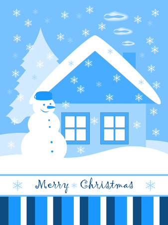 vector Christmas card with snowman and cottage Vector