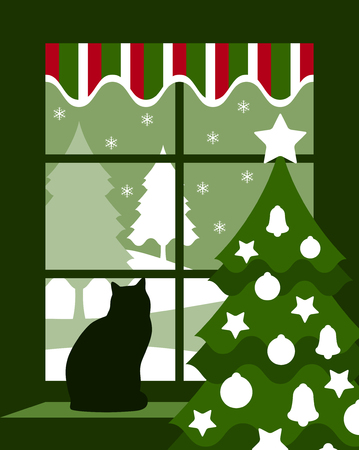 vector Christmas tree and cat at window Vector