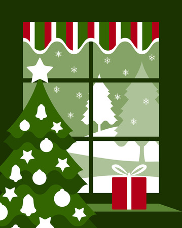 vector Christmas tree and gift at window Vector