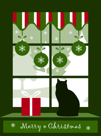 vector Christmas balls, cat and gift at window