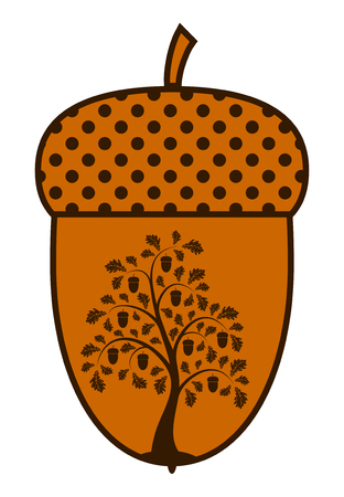 vector oak tree in acorn on white background