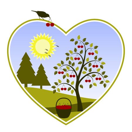 drupe: vector landscape with cherry tree in heart on white background