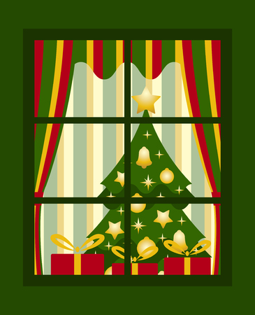 vector Christmas tree and gifts behind window Vector