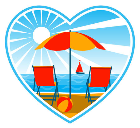 beach umbrella: vector deck chairs under umbrella on the beach in heart
