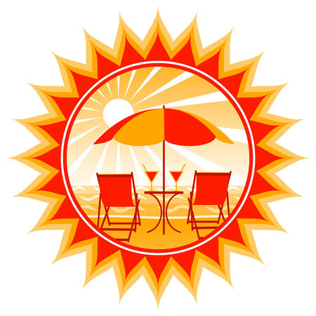 vector deck chairs, drinks and umbrella on the beach Stock Vector - 8372169