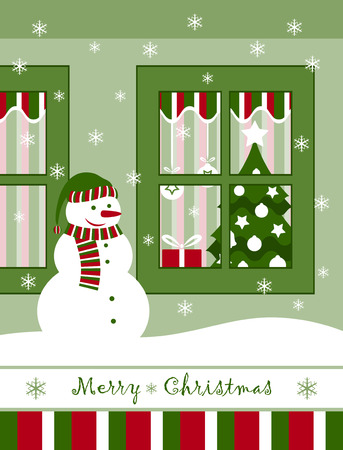vector snowman and christmas window Vector