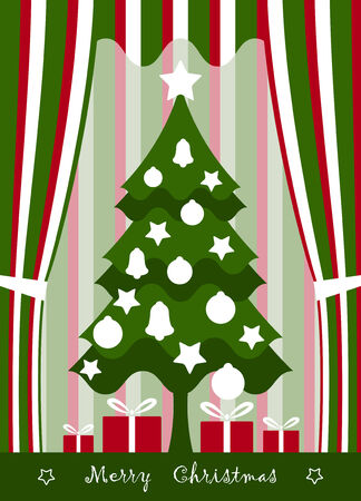 vector background with Christmas tree and gifts Stock Vector - 8372172