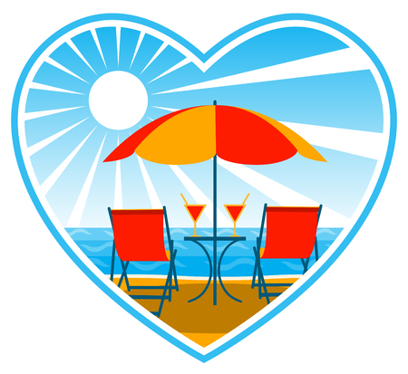deck chairs and drinks under umbrella on the beach Vector