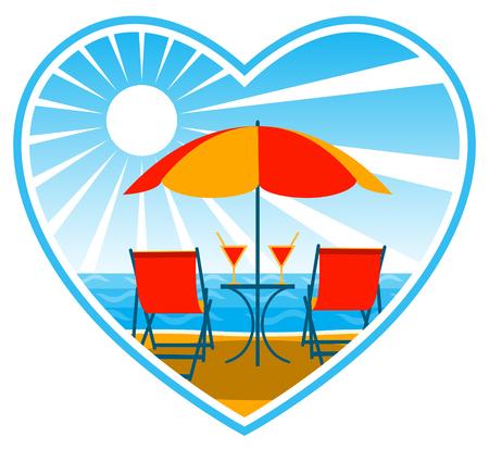 沙滩上的躺椅和遮阳伞下的饮料
