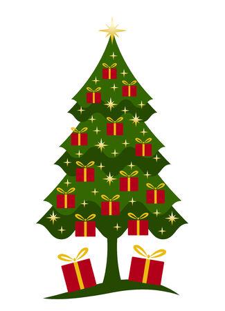 Árboles de Navidad y regalos sobre fondo blanco