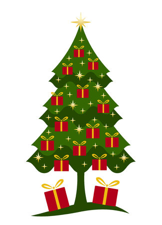 Christmas tree and gifts on white background Stock Vector - 8414974