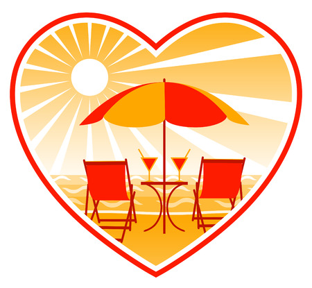 deck chairs and drinks under umbrella on the beach Stock Vector - 8414977