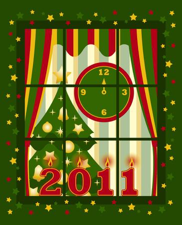 vector new year 2011 window Stock Vector - 8440801
