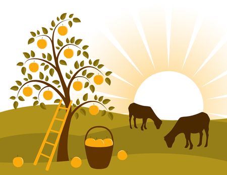 vector background with apple tree and grazing goats Vector