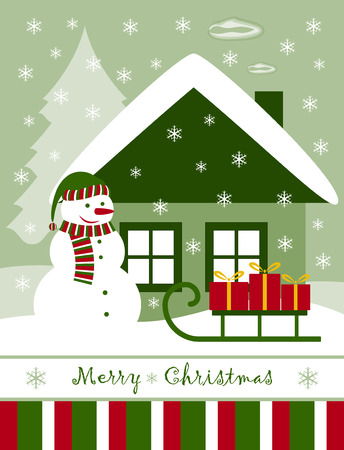 vector Christmas card with snowman, cottage and gifts on sledge