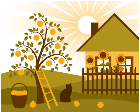 vector rural scene Illustration