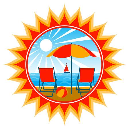 Liegestühle unter Dach am Strand Vektorgrafik