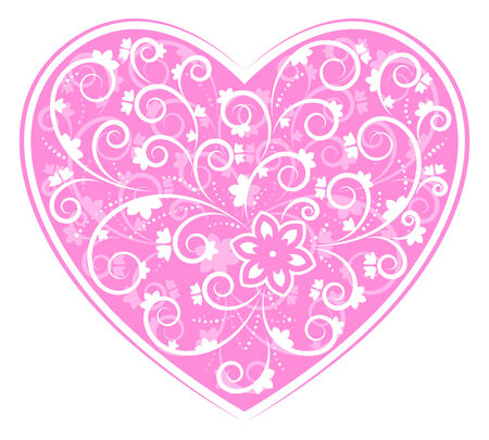 floral heart on white background Vector