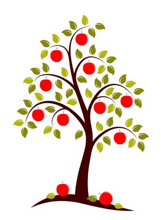 arbol de manzanas: vector Manzano sobre fondo blanco