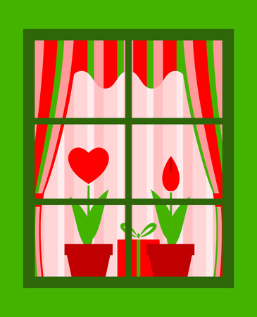 valentine flowers and gift behind window Vector