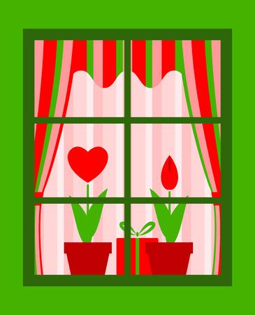 valentine flowers and gift behind window Ilustracja