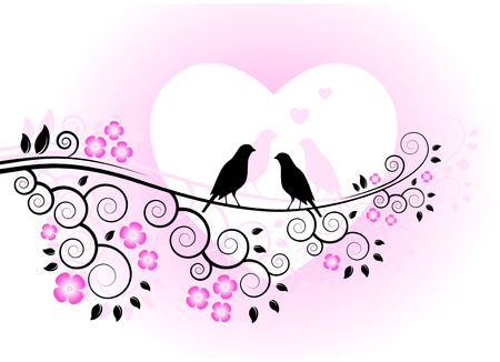 love birds on flowering branch Illustration