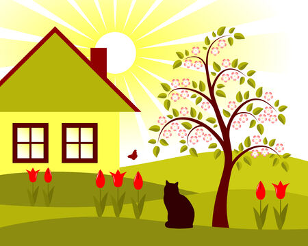 rural scene with tulips, flowering apple tree and cottage Stock Vector - 8524406