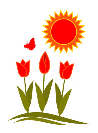 tulips, butterfly and sun on white background Vector